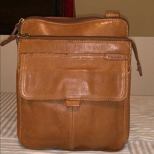 Fossil Light Brown Leather Crossbody Purse
